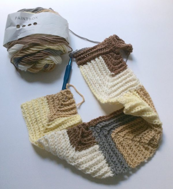 Free crochet pattern: Mitered Square Scarf in Paintbox Yarns Chunky Pots yarn by Underground Crafter