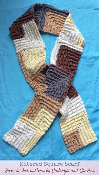 Free #crochet pattern: Mitered Square Scarf in Paintbox Yarns Chunky Pots #yarn by Underground Crafter | Make this simple, unisex scarf your own by adjusting the width or length. A self-striping yarn makes the colorwork easy. #undergroundcrafter #freecrochetpattern #paintboxyarns #miteredsquarescarf #crochetscarf