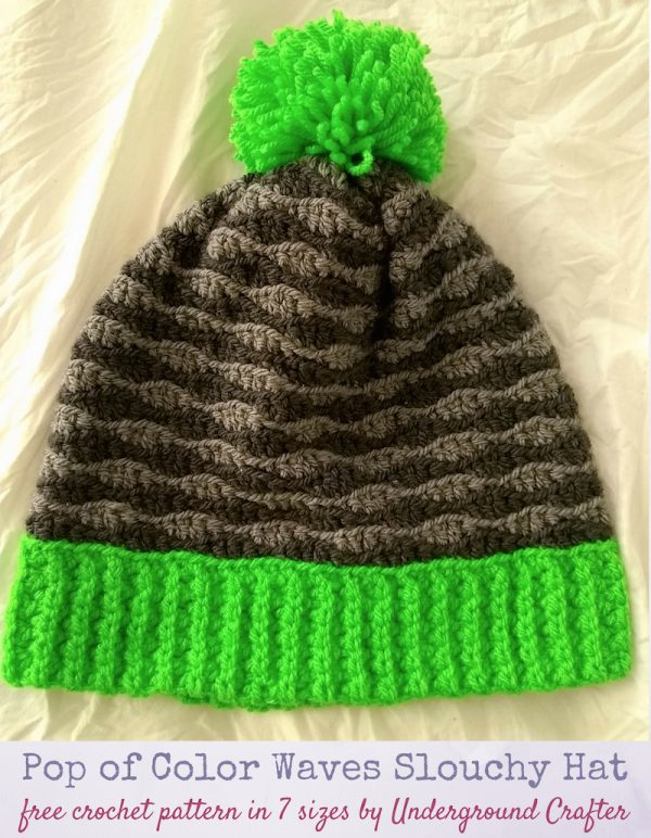 Free crochet pattern: Pop of Color Waves Slouchy Hat in 7 sizes in Paintbox Yarns Simply Aran yarn by Underground Crafter | This beginner-friendly slouchy beanie crochet pattern in 7 sizes is the first pattern in the fourth annual Holiday Stashdown Crochet Along.