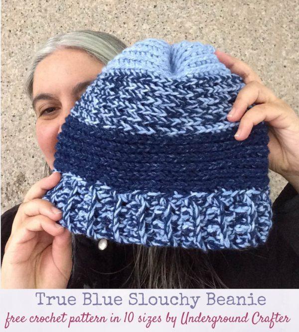 Free crochet pattern: True Blue Slouchy Beanie, free crochet pattern in 10 sizes in Lion Brand Jeans yarn by Underground Crafter