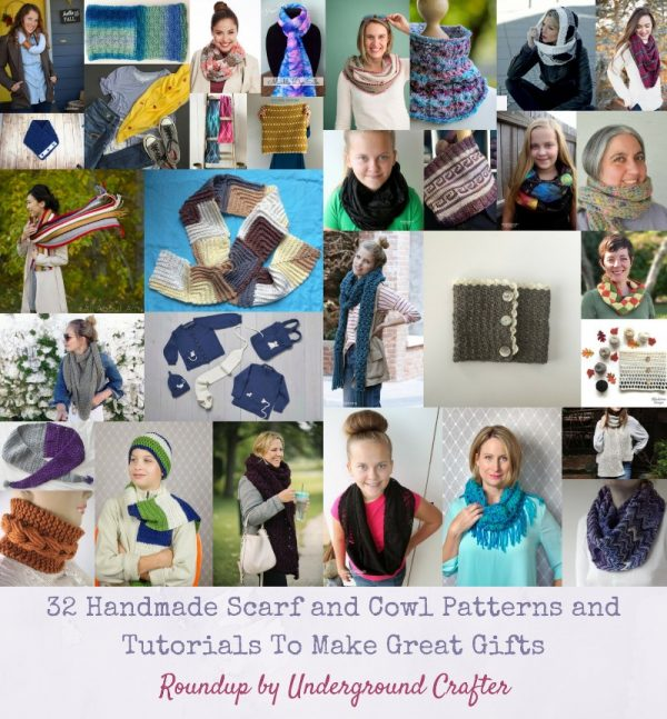 32 Handmade Scarf and Cowl Patterns and Tutorials To Make Great Gifts via Underground Crafter