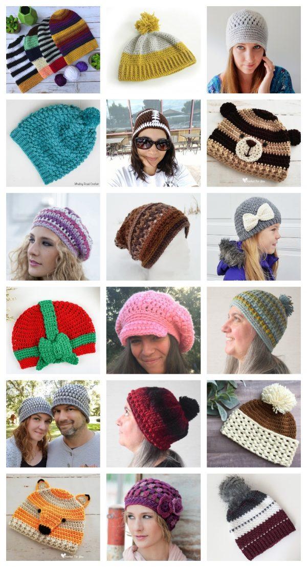 35 Handmade Hat Patterns and Tutorials via Underground Crafter - free crochet patterns collage
