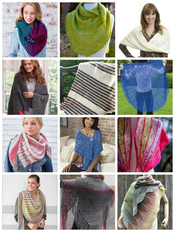 40 Free Crochet and Knitting Patterns for Shawls and Wraps That Make Great Gifts via Underground Crafter - 12 free knitting patterns collage