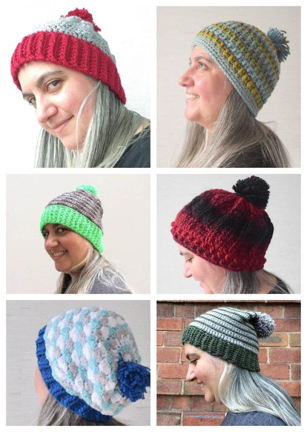 6 Crochet Pom Pom Hats, Volume 1 by Underground Crafter