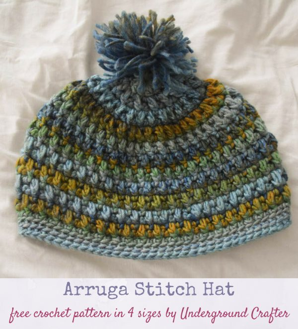 Arruga Stitch Hat, free crochet pattern in Red Heart Colorscape yarn by Underground Crafter