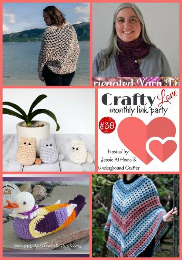 Crafty Love Link Party 38 (October, 2018) - Share your latest crafty posts with Jessie At Home and Underground Crafter through October 25, 2018 and check out the top five most clicked on posts from last month, including free crochet patterns and knitting inspiration from Joy of Motion Crochet, Knit's All Folks!, Thoresby Cottage, Crochet Memories, and Nana's Crafty Home