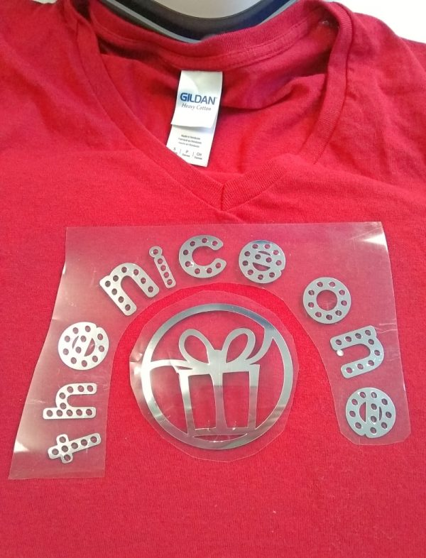 Naughty and Nice Couples Cricut Iron-On T-Shirts by Underground Crafter - position iron-on on t-shirt
