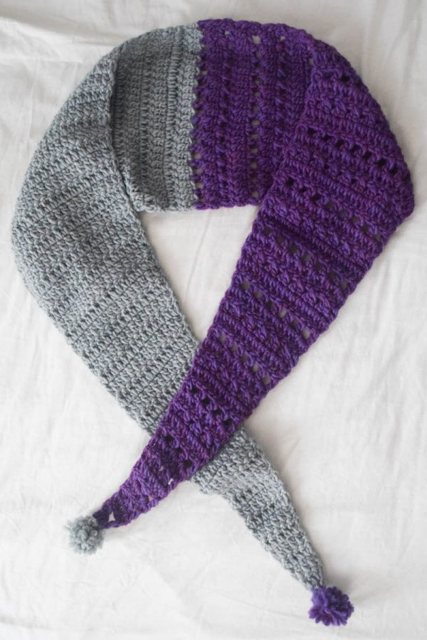 Free crochet pattern: Split Screen Pom Pom Scarf in Patons Alpaca Blend yarn by Underground Crafter - long view of scarf