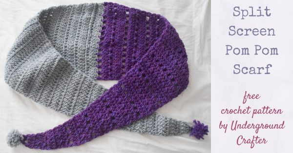 Free crochet pattern: Split Screen Pom Pom Scarf in Patons Alpaca Blend yarn by Underground Crafter