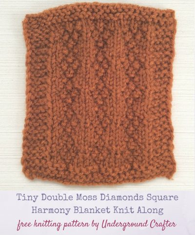 Free knitting pattern: Tiny Double Moss Diamonds Square in Lion Brand Vanna's Choice yarn by Underground Crafter [Harmony Blanket Knit Along Square #40]