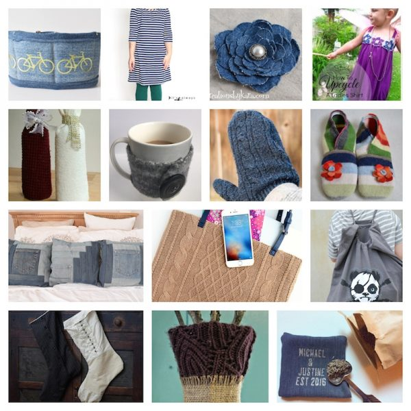 20 Handmade Upcycled Gift Ideas via Underground Crafter | projects made from clothing - denim, t-shirts, wool sweaters