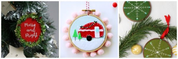 21 Handmade Ornament Ideas to Make Great Gifts via Underground Crafter | 3 free embroidery projects collage