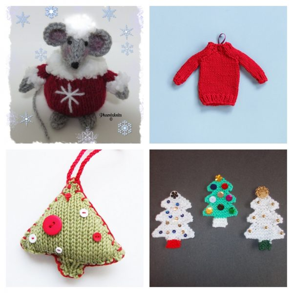 21 Handmade Ornament Ideas to Make Great Gifts via Underground Crafter | 4 free knitting patterns collage