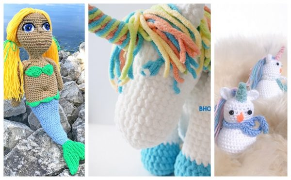 40 Free Crochet Animal Patterns via Underground Crafter | 3 free crochet patterns for mythical creatures
