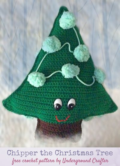 Chipper the Christmas Tree, free crochet pattern in Red Heart Super Saver and Pomp-a-Doodle yarns with Fairfield Poly-Fil stuffing by Underground Crafter