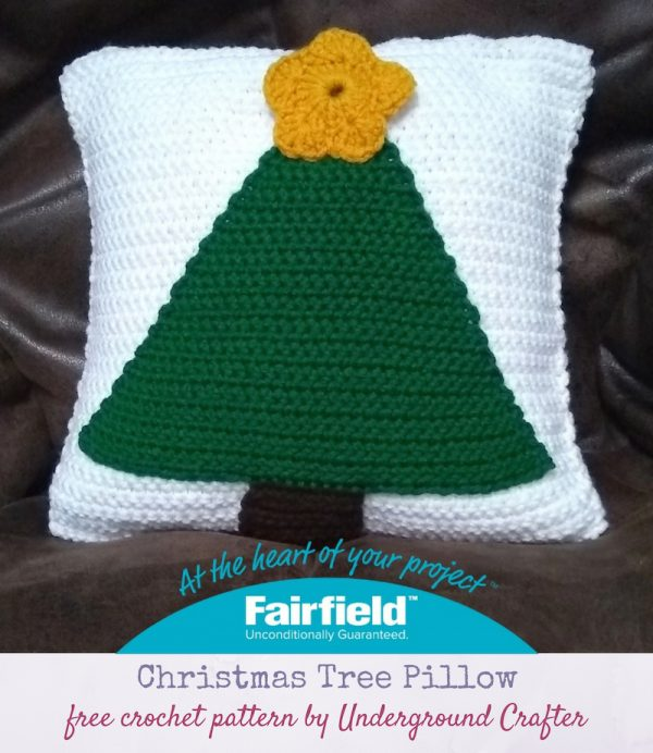 "Christmas Tree Pillow, free crochet pattern in Red Heart Super Saver stuffed with Fairfield Crafter's Choice 12"" x 12"" Pillow Form by Underground Crafter"