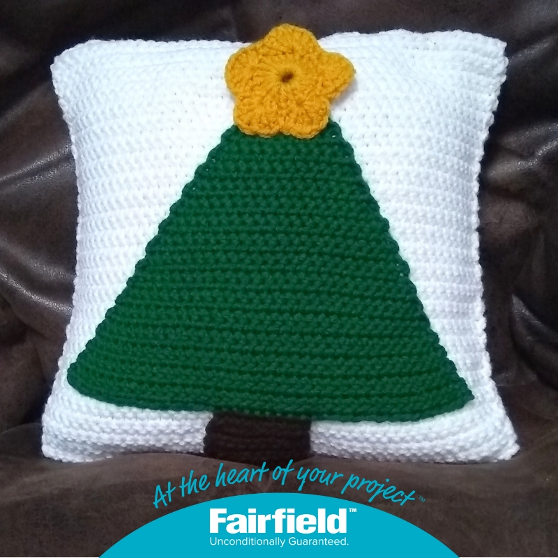 """Christmas Tree Pillow, free crochet pattern in Red Heart Super Saver stuffed with Fairfield Crafter's Choice 12"""" x 12"""" Pillow Form by Underground Crafter"""