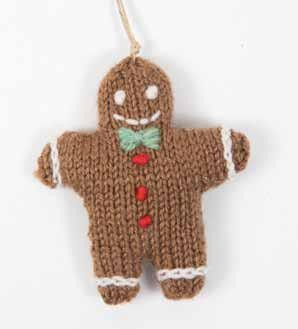 Tiny Christmas Toys to Knit by Sachiyo Ishii - book review with Gingerbread Man pattern excerpt on Underground Crafter | Gingerbread Man ornament on white background