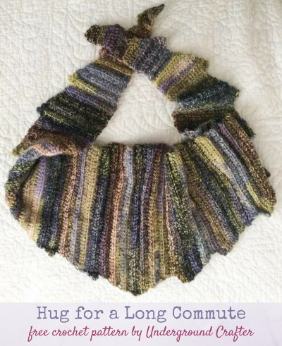 Free crochet pattern: Hug for a Long Commute scarf or shawl in Universal Yarn Classic Shades Frenzy by Underground Crafter