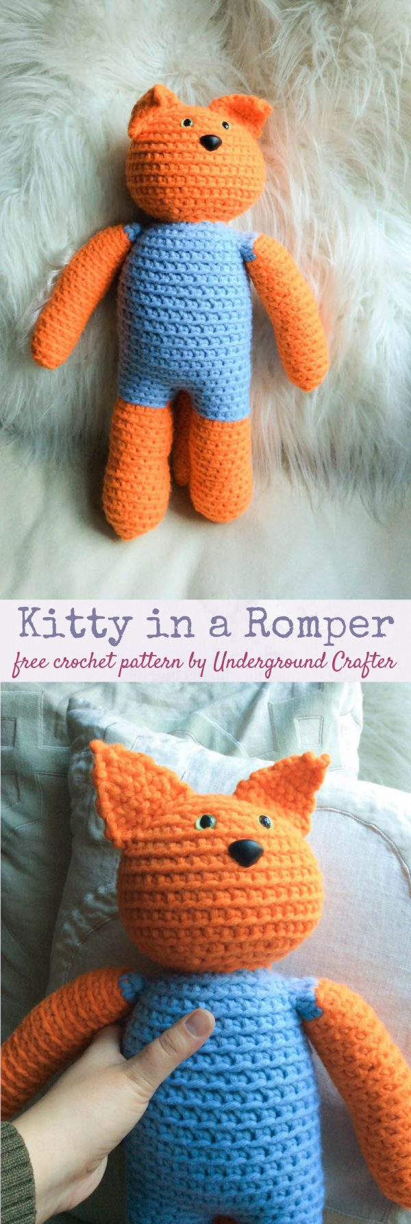 Free crochet pattern: Kitty in a Romper in Paintbox Yarns Wool Mix Chunky yarn stuffed with Fairfield Poly-Fil Royal Silk Fiber Fill by Underground Crafter