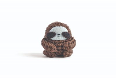 Sloth, free crochet pattern by Lauren Bergstrom via Underground Crafter | 1 crocheted sloth front view