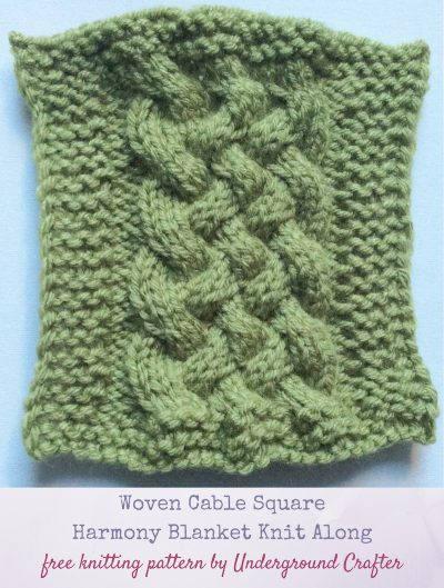 Free knitting pattern: Woven Cable Square in Lion Brand Vanna's Choice by Underground Crafter