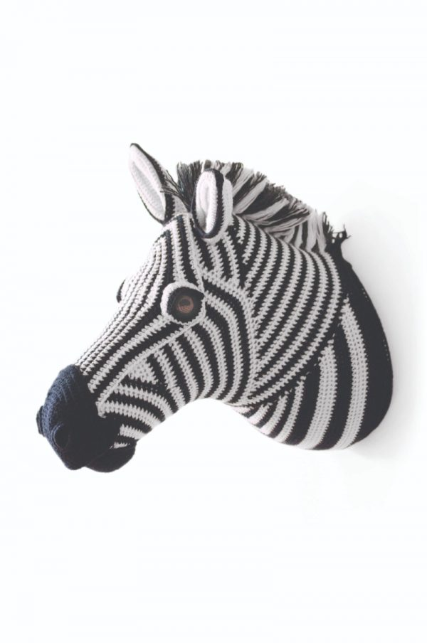 Zebra free crochet amigurumi faux taxidermy trophy head pattern by Vanessa Mooncie via Underground Crafter - zebra on wall white background