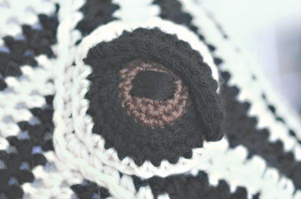 Zebra free crochet amigurumi faux taxidermy trophy head pattern by Vanessa Mooncie via Underground Crafter - detail of eye