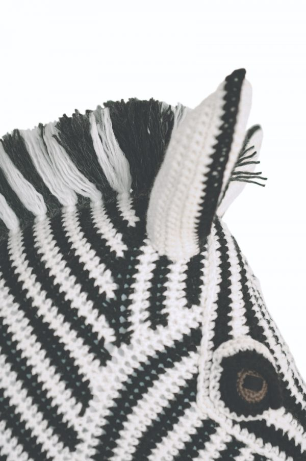 Zebra free crochet amigurumi faux taxidermy trophy head pattern by Vanessa Mooncie via Underground Crafter - profile of zebra