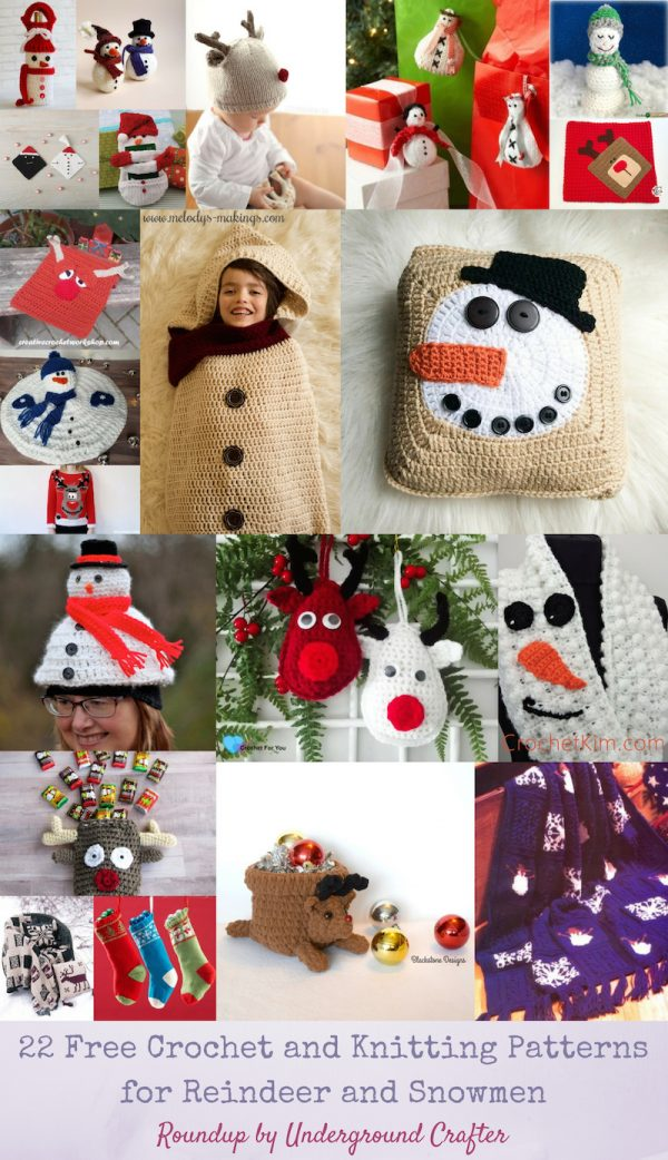 22 Free Crochet and Knitting Patterns for Reindeer and Snowmen via Underground Crafter