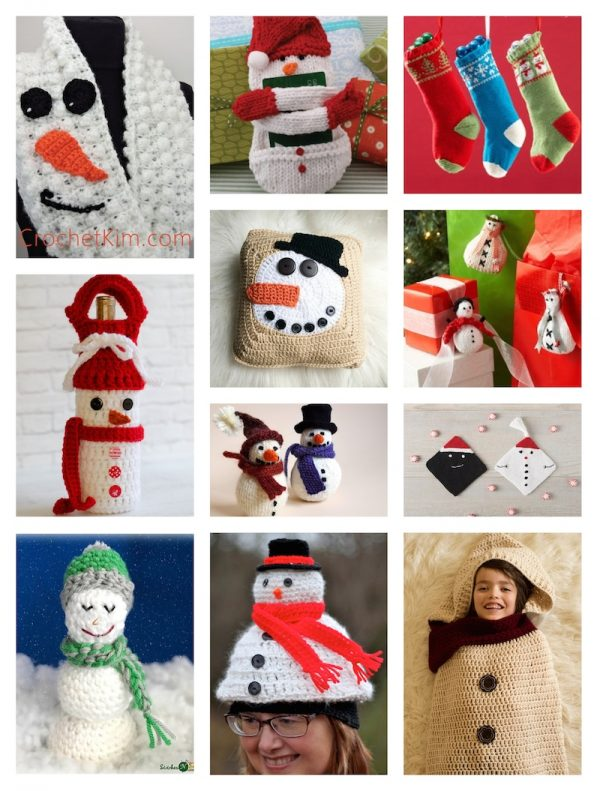 22 Free Crochet and Knitting Patterns for Reindeer and Snowmen via Underground Crafter - Snowman collage