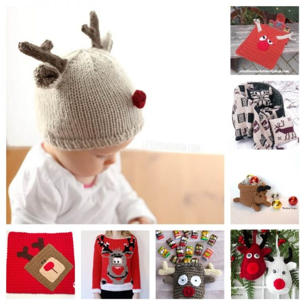 22 Free Crochet and Knitting Patterns for Reindeer and Snowmen via Underground Crafter - reindeer collage