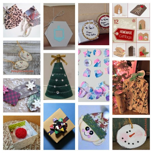 38+ Handmade Gift Tags and Gift Wrap Tutorials via Underground Crafter - collage of 13 free craft tutorials