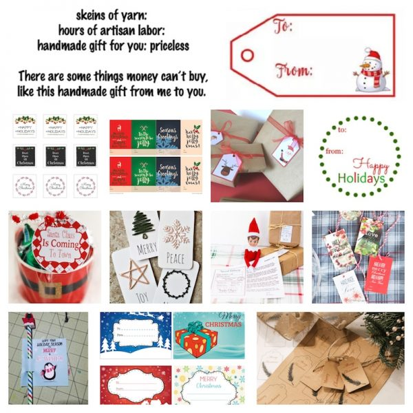 38+ Handmade Gift Tags and Gift Wrap Tutorials via Underground Crafter - collage of 13 free printables