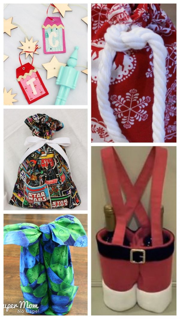 38+ Handmade Gift Tags and Gift Wrap Tutorials via Underground Crafter - collage of 5 sewing and no-sew fabric crafts