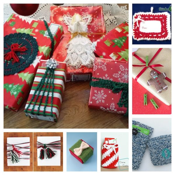 38+ Handmade Gift Tags and Gift Wrap Tutorials via Underground Crafter - collage of 7 free crochet and knitting patterns and yarn tutorials
