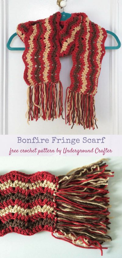 Free crochet pattern: Bonfire Fringe Scarf in Paintbox Yarns Simply Chunky yarn by Underground Crafter