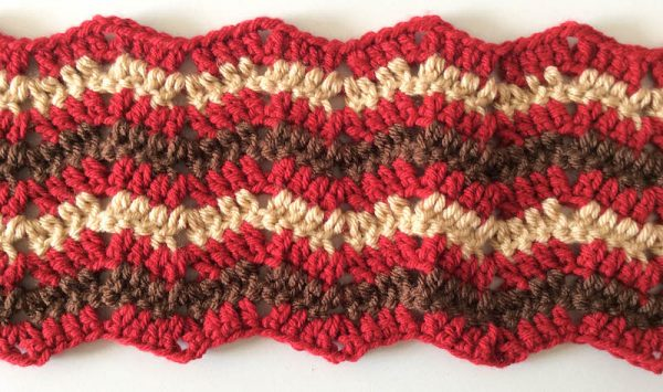 Free crochet pattern: Bonfire Fringe Scarf in Paintbox Yarns Simply Chunky yarn by Underground Crafter | Detail of striped crochet ripple pattern