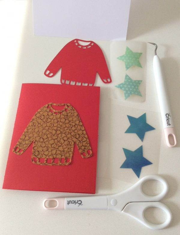 DIY Ugly Sweater Cards with Cricut Maker by Underground Crafter | Ugly sweater cards before assembly with tools and materials