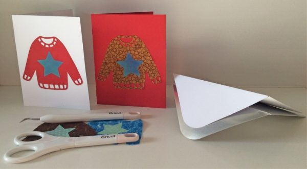 DIY Ugly Sweater Cards with Cricut Maker by Underground Crafter | Ugly sweater cards with tools and envelopes