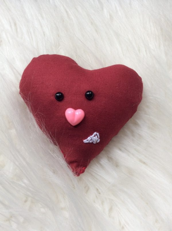 Heart Softie free sewing pattern by Underground Crafter - Heart Softie on faux fur background