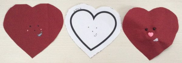 Heart Softie free sewing pattern by Underground Crafter - heart faces with pattern