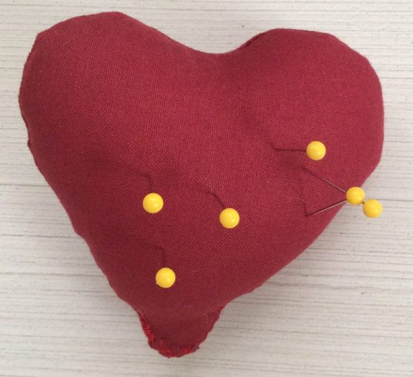 Heart Softie free sewing pattern by Underground Crafter - Heart Softie as pin cushion