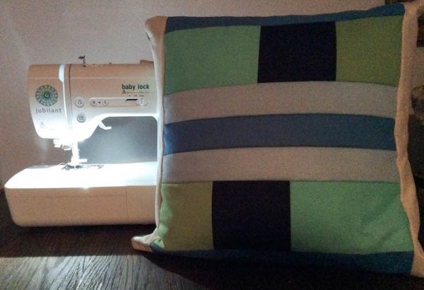 Modern Quilt Pillow with Cricut Maker Rotary Blade tutorial by Underground Crafter | pillow with Baby Lock Jubilant