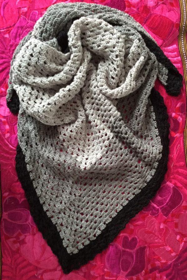 Promenade Shawl, free crochet pattern in Red Heart It's a Wrap yarn by Underground Crafter