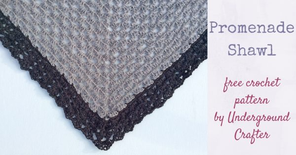 Promenade Shawl, free crochet pattern in Red Heart It's a Wrap yarn by Underground Crafter