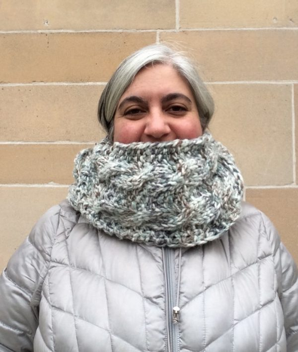 Free knitting pattern: Seeds and Cables Scarf in Lion Brand Wool-Ease Thick and Quick Bonus Bundle yarn by Underground Crafter | Scarf as infinity scarf with ends tucked in