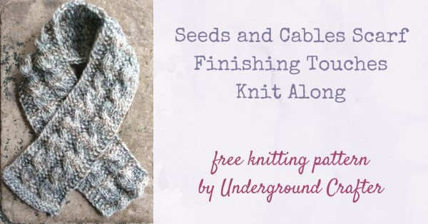 Free knitting pattern: Seeds and Cables Scarf in Lion Brand Wool-Ease Thick and Quick Bonus Bundle yarn by Underground Crafter |