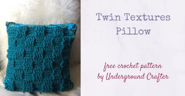 Twin Textures Pillow, free crochet pattern in Red Heart Sweet Home yarn by Underground Crafter