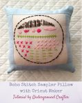 Boho Stitch Sampler Pillow with Cricut Maker Tutorial by Underground Crafter | Embroidery sampler pillow against quilted background
